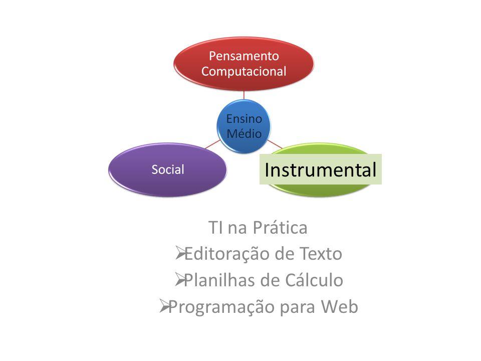 Instrumental TI na Prática Editoração de Texto Planilhas de Cálculo