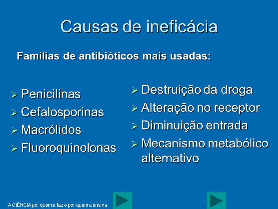 Causas de ineficácia Destruição da droga Penicilinas