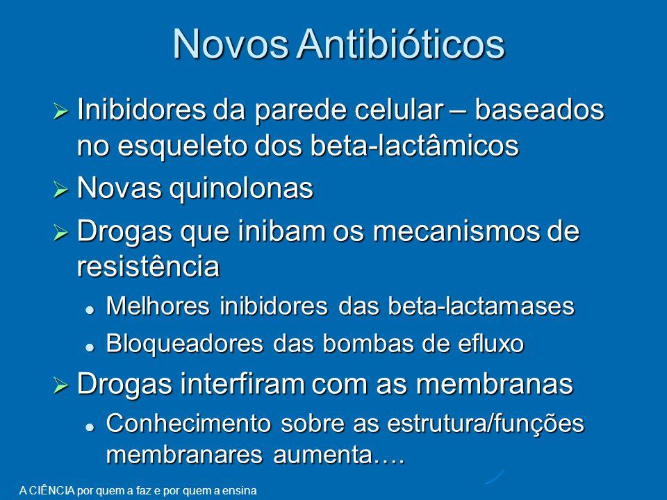 Novos Antibióticos Inibidores da parede celular – baseados no esqueleto dos beta-lactâmicos. Novas quinolonas.