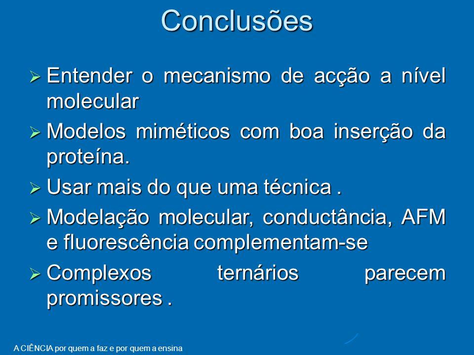 Conclusões Entender o mecanismo de acção a nível molecular