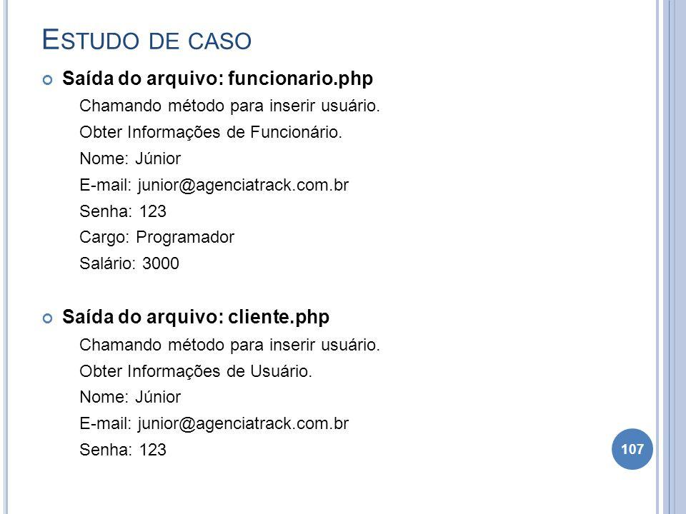 Estudo de caso Saída do arquivo: funcionario.php