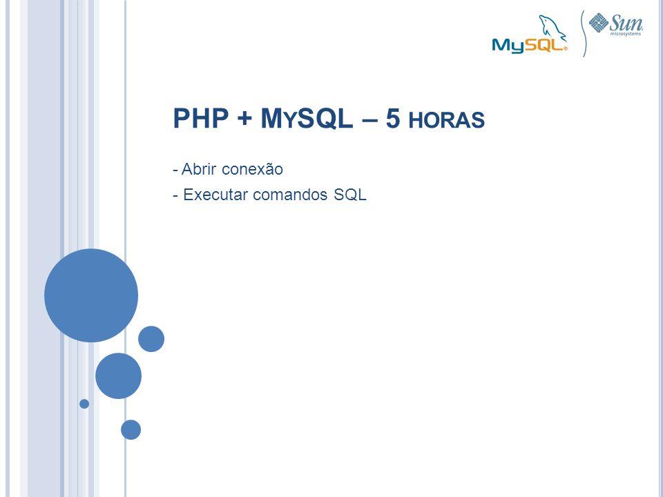 - Abrir conexão - Executar comandos SQL