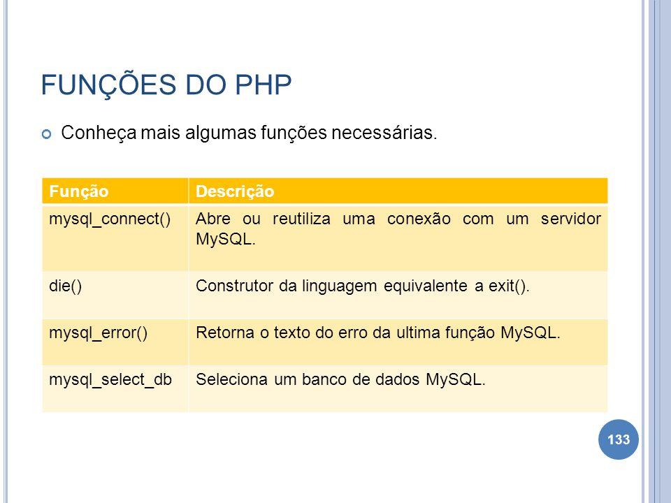 FUNÇÕES DO PHP Conheça mais algumas funções necessárias. Função