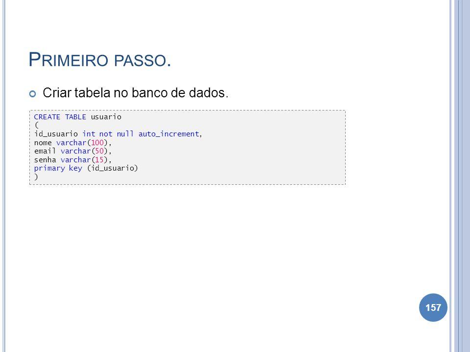 Primeiro passo. Criar tabela no banco de dados. CREATE TABLE usuario (
