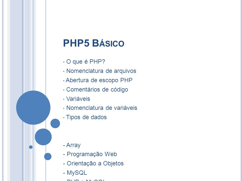 PHP5 Básico O que é PHP Nomenclatura de arquivos