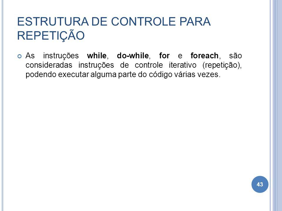 ESTRUTURA DE CONTROLE PARA REPETIÇÃO