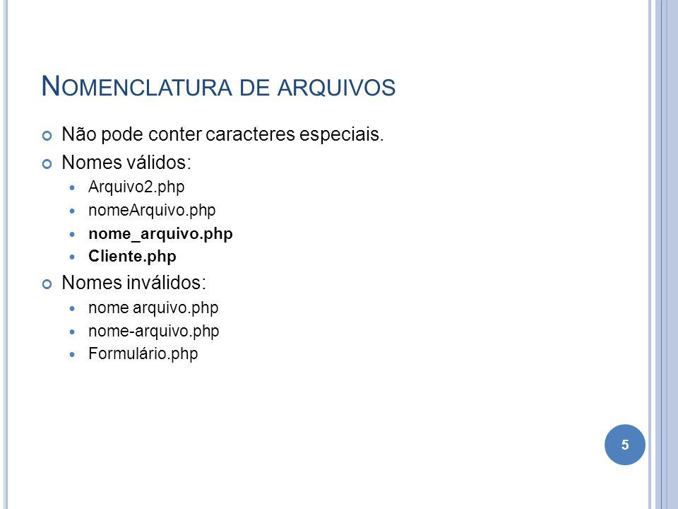 Nomenclatura de arquivos