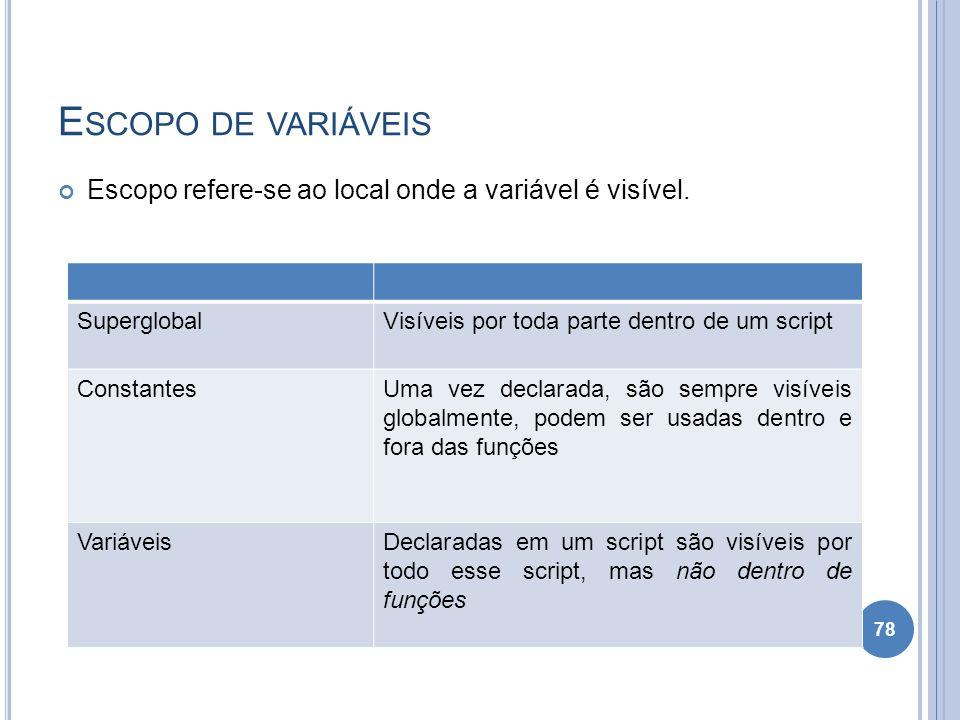 Escopo de variáveis Escopo refere-se ao local onde a variável é visível. Superglobal. Visíveis por toda parte dentro de um script.