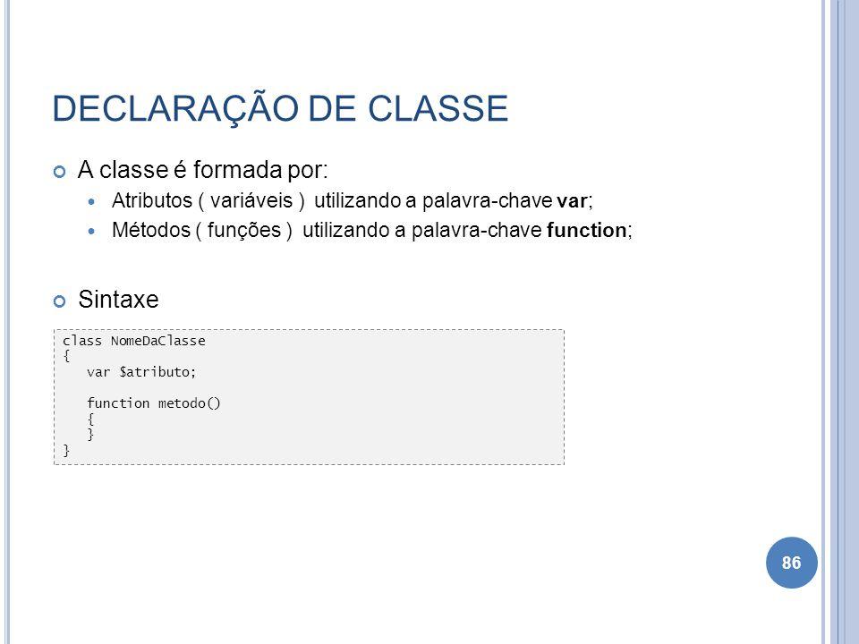 DECLARAÇÃO DE CLASSE A classe é formada por: Sintaxe