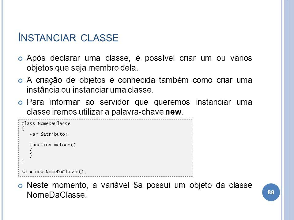 Instanciar classe Após declarar uma classe, é possível criar um ou vários objetos que seja membro dela.