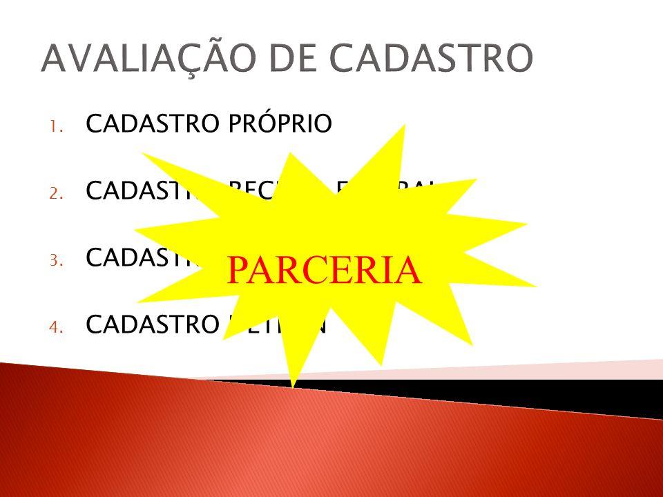 AVALIAÇÃO DE CADASTRO PARCERIA CADASTRO PRÓPRIO