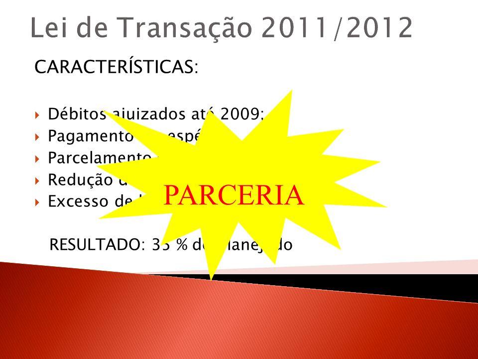 Lei de Transação 2011/2012 PARCERIA CARACTERÍSTICAS: