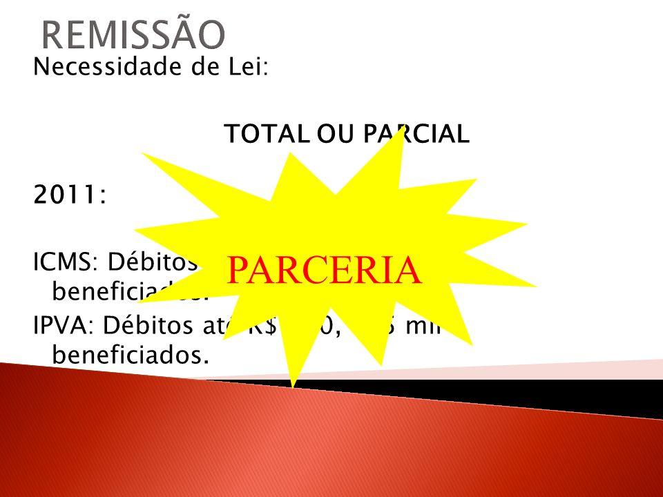 REMISSÃO PARCERIA 2011: Necessidade de Lei: TOTAL OU PARCIAL