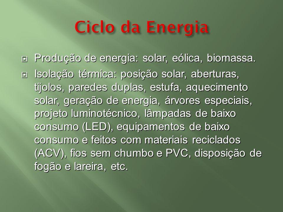 Ciclo da Energia Produção de energia: solar, eólica, biomassa.