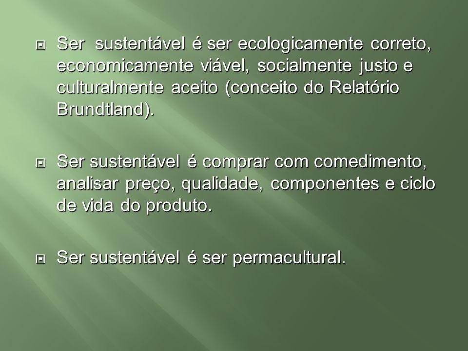 Ser sustentável é ser ecologicamente correto, economicamente viável, socialmente justo e culturalmente aceito (conceito do Relatório Brundtland).