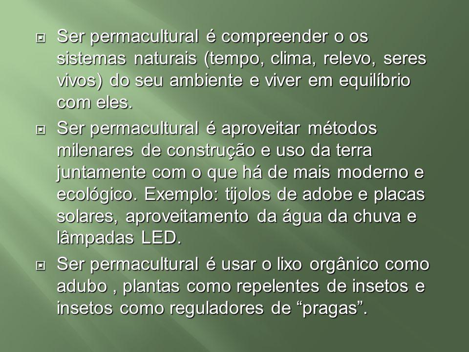 Ser permacultural é compreender o os sistemas naturais (tempo, clima, relevo, seres vivos) do seu ambiente e viver em equilíbrio com eles.