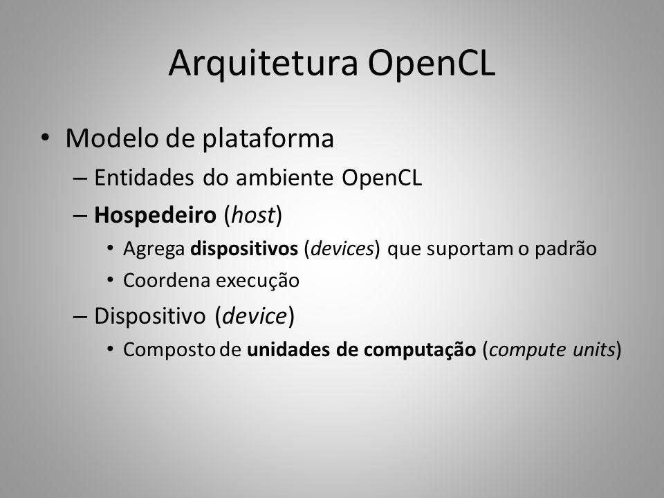 Arquitetura OpenCL Modelo de plataforma Entidades do ambiente OpenCL