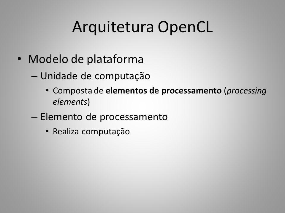 Arquitetura OpenCL Modelo de plataforma Unidade de computação