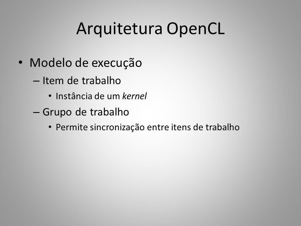 Arquitetura OpenCL Modelo de execução Item de trabalho