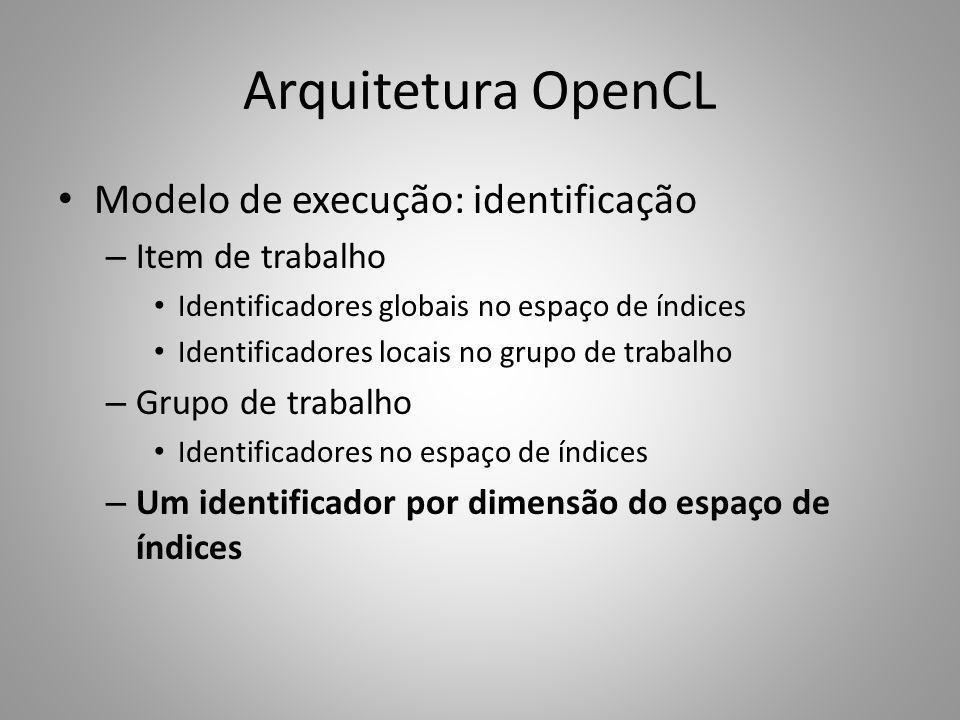 Arquitetura OpenCL Modelo de execução: identificação Item de trabalho