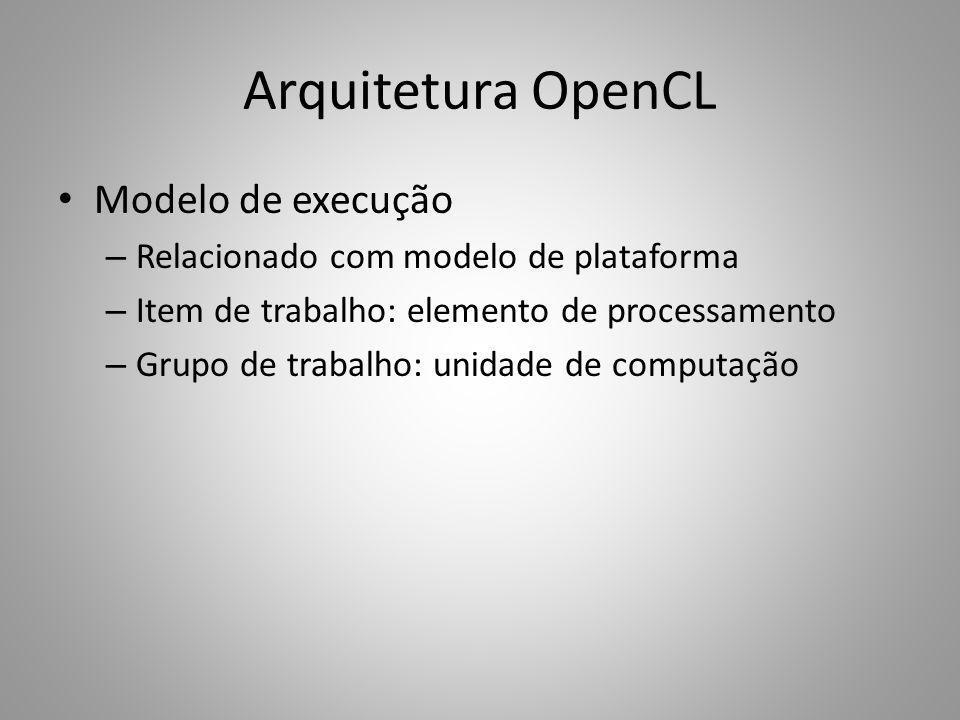Arquitetura OpenCL Modelo de execução