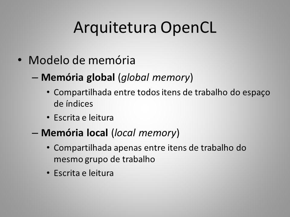 Arquitetura OpenCL Modelo de memória Memória global (global memory)