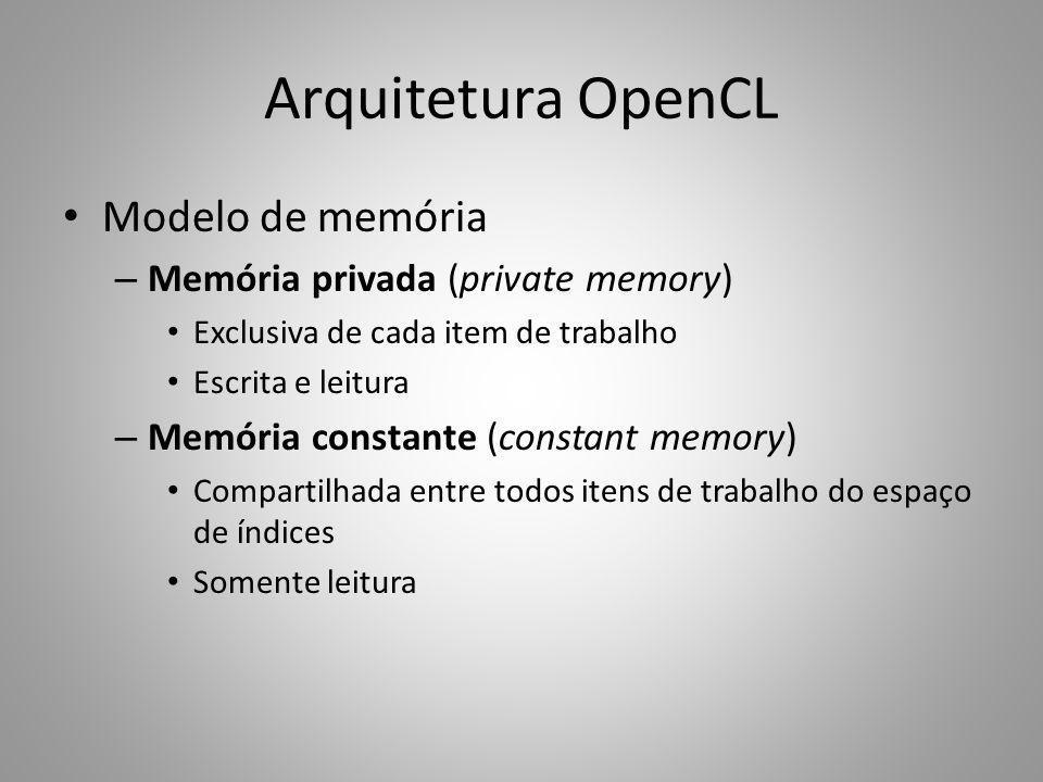 Arquitetura OpenCL Modelo de memória Memória privada (private memory)