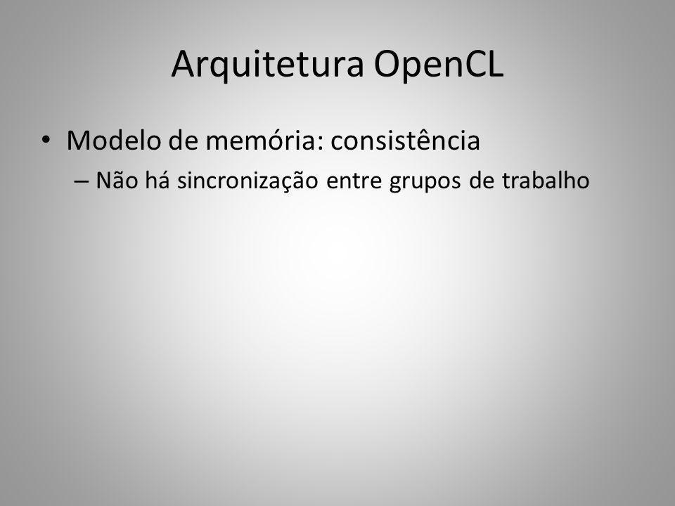 Arquitetura OpenCL Modelo de memória: consistência