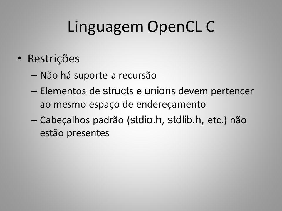 Linguagem OpenCL C Restrições Não há suporte a recursão