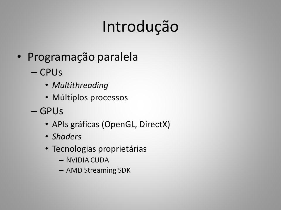 Introdução Programação paralela CPUs GPUs Multithreading