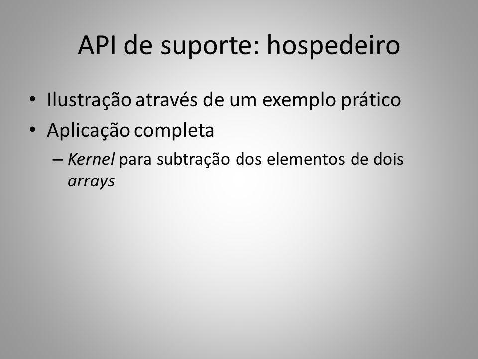 API de suporte: hospedeiro