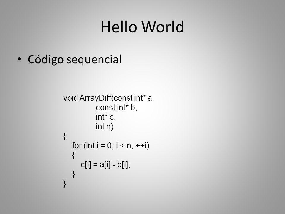 Hello World Código sequencial void ArrayDiff(const int* a,
