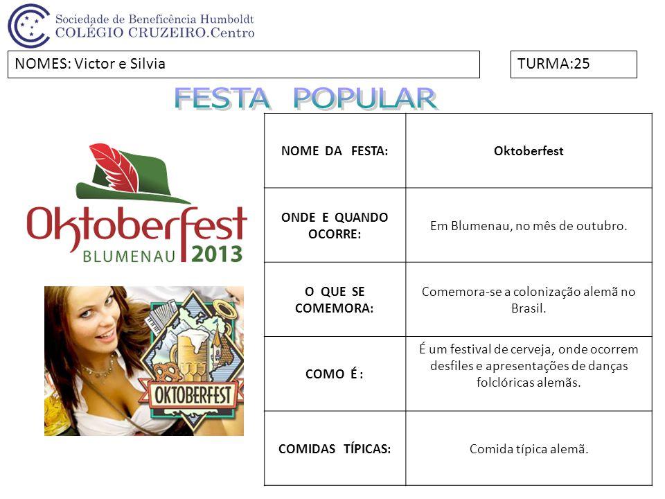 FESTA POPULAR NOMES: Victor e Silvia TURMA:25 NOME DA FESTA: