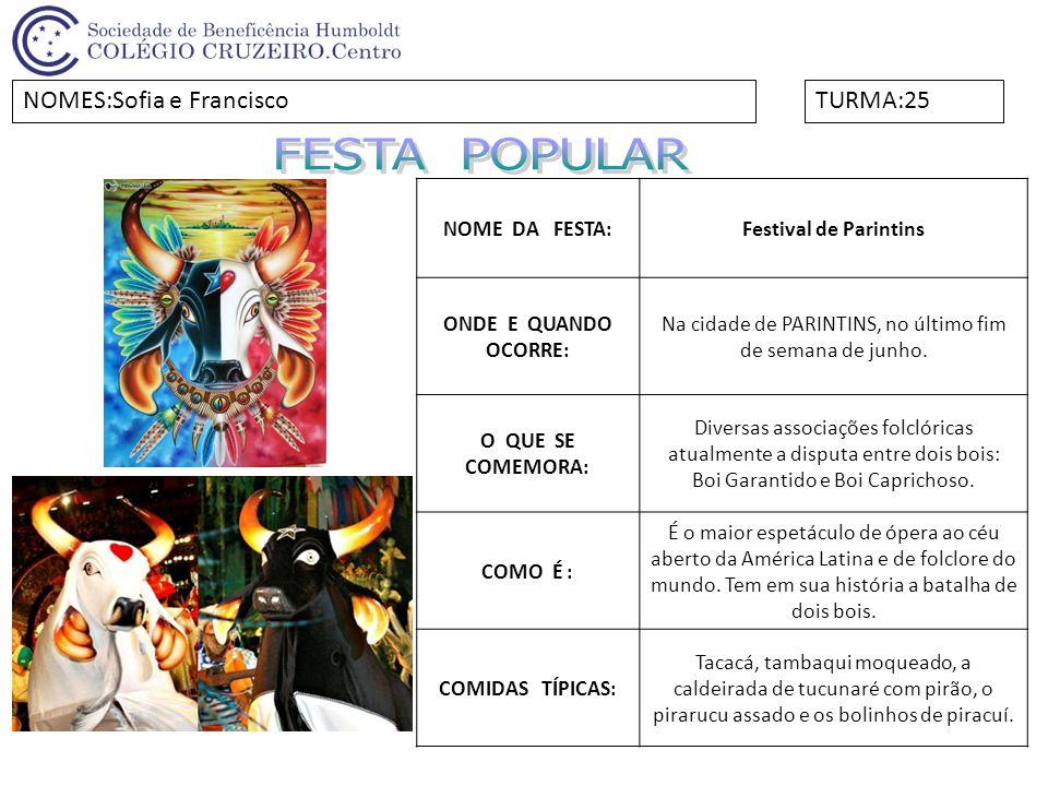 FESTA POPULAR NOMES:Sofia e Francisco TURMA:25 NOME DA FESTA: