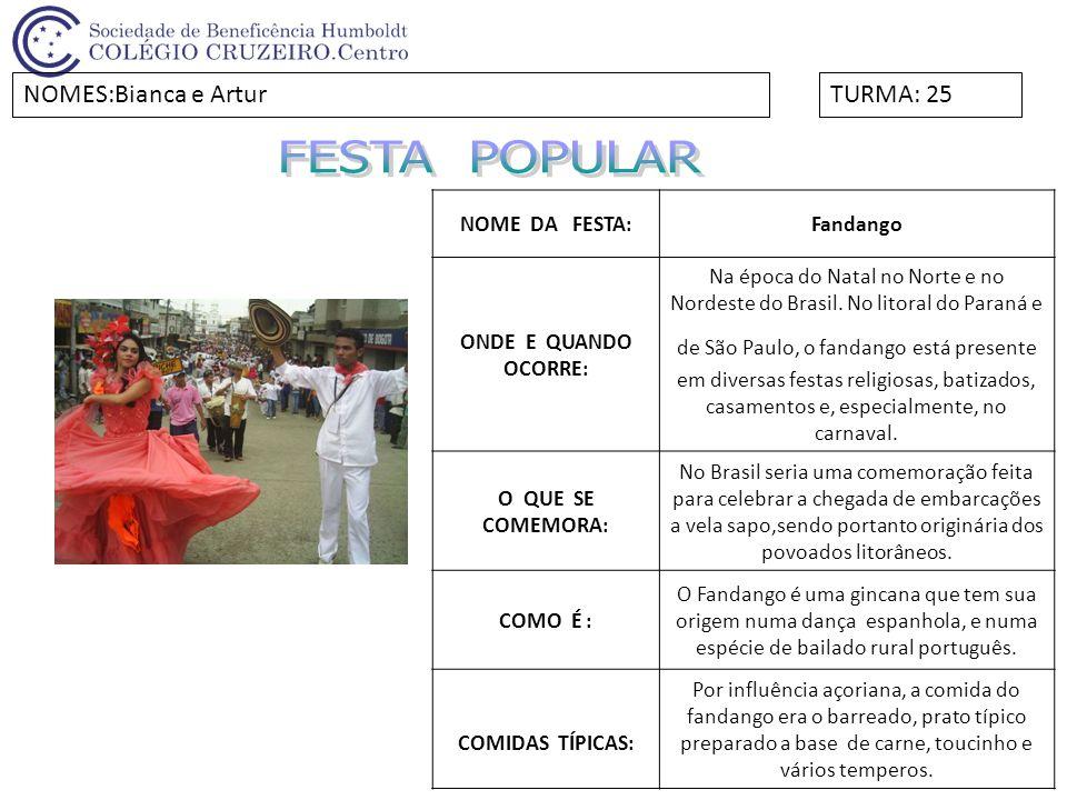 FESTA POPULAR NOMES:Bianca e Artur TURMA: 25 NOME DA FESTA: Fandango