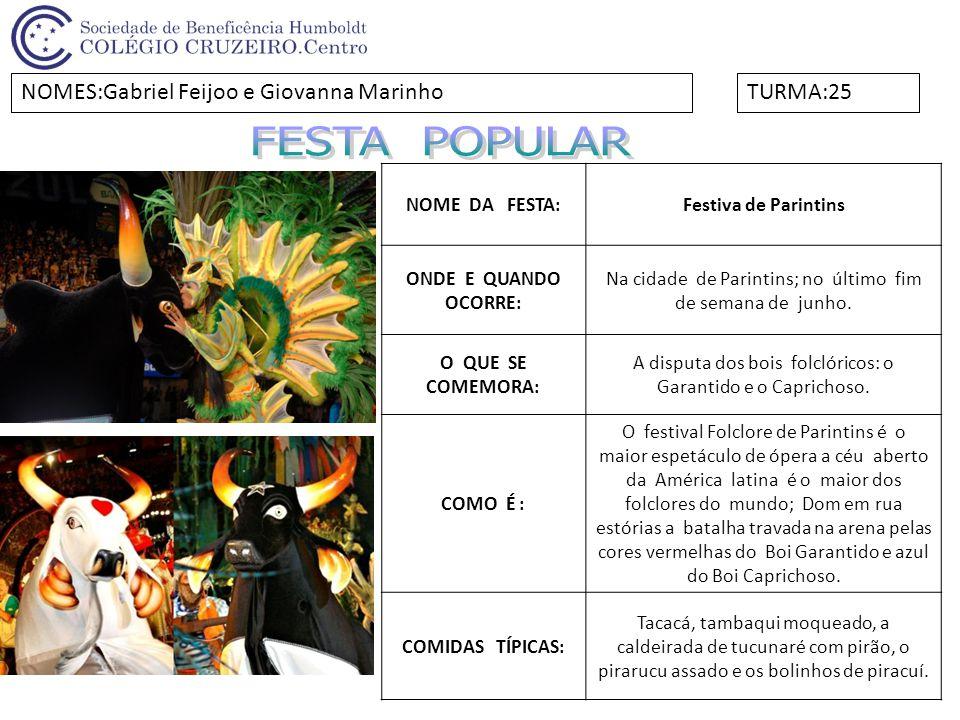 FESTA POPULAR NOMES:Gabriel Feijoo e Giovanna Marinho TURMA:25