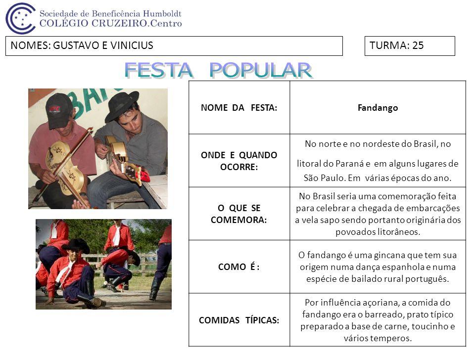 FESTA POPULAR NOMES: GUSTAVO E VINICIUS TURMA: 25 NOME DA FESTA: