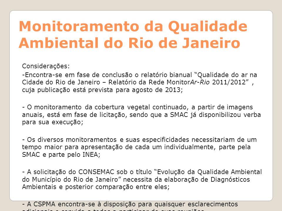 Monitoramento da Qualidade Ambiental do Rio de Janeiro
