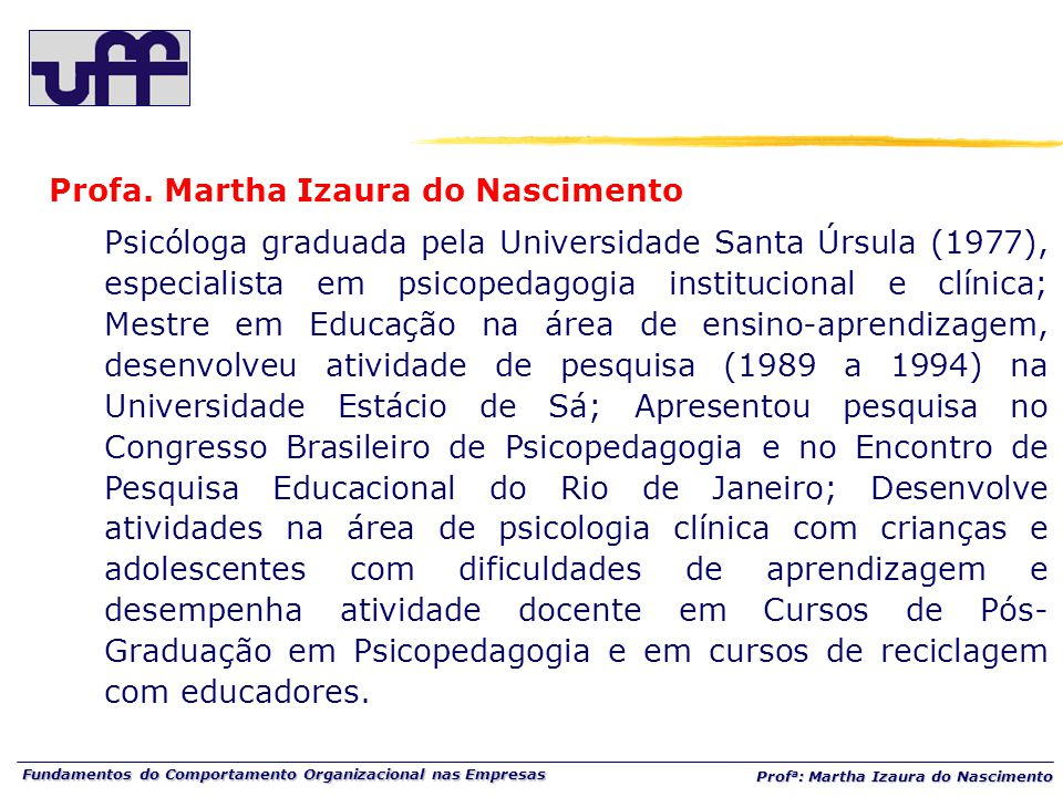 Profa. Martha Izaura do Nascimento