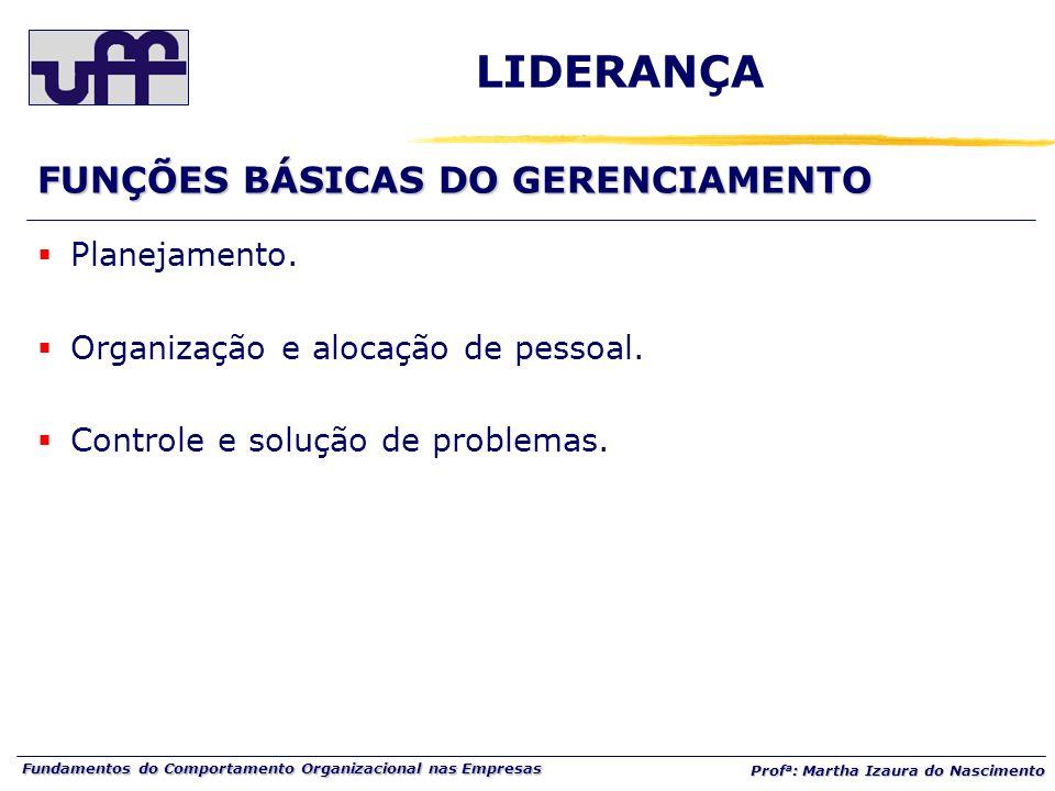LIDERANÇA FUNÇÕES BÁSICAS DO GERENCIAMENTO Planejamento.