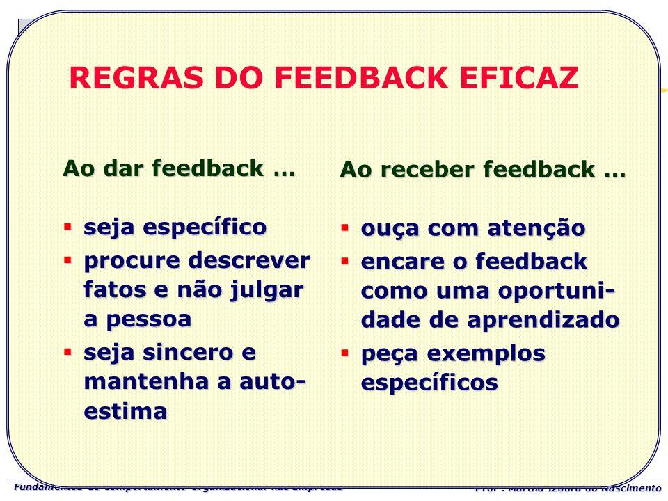 REGRAS DO FEEDBACK EFICAZ