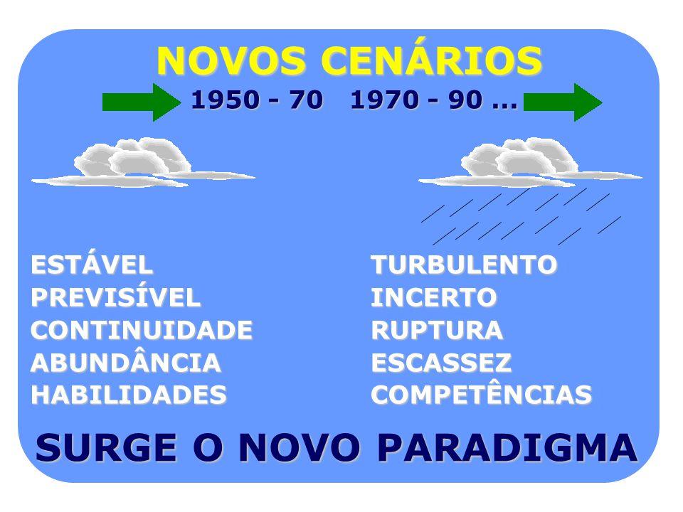 NOVOS CENÁRIOS SURGE O NOVO PARADIGMA 1950 - 70 1970 - 90 ... ESTÁVEL