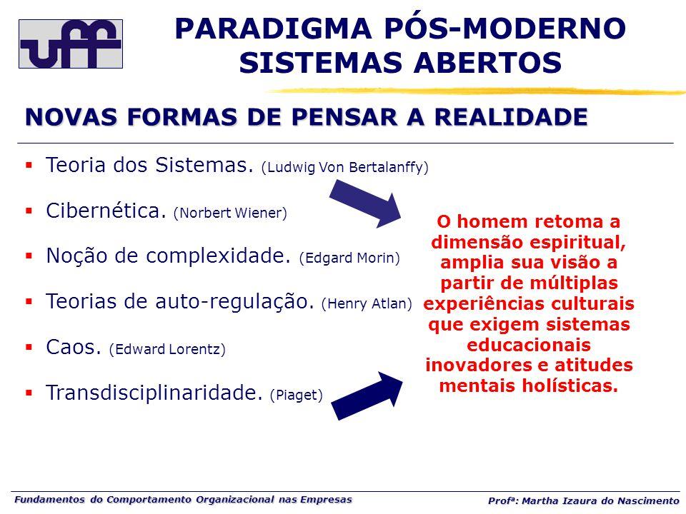 PARADIGMA PÓS-MODERNO SISTEMAS ABERTOS