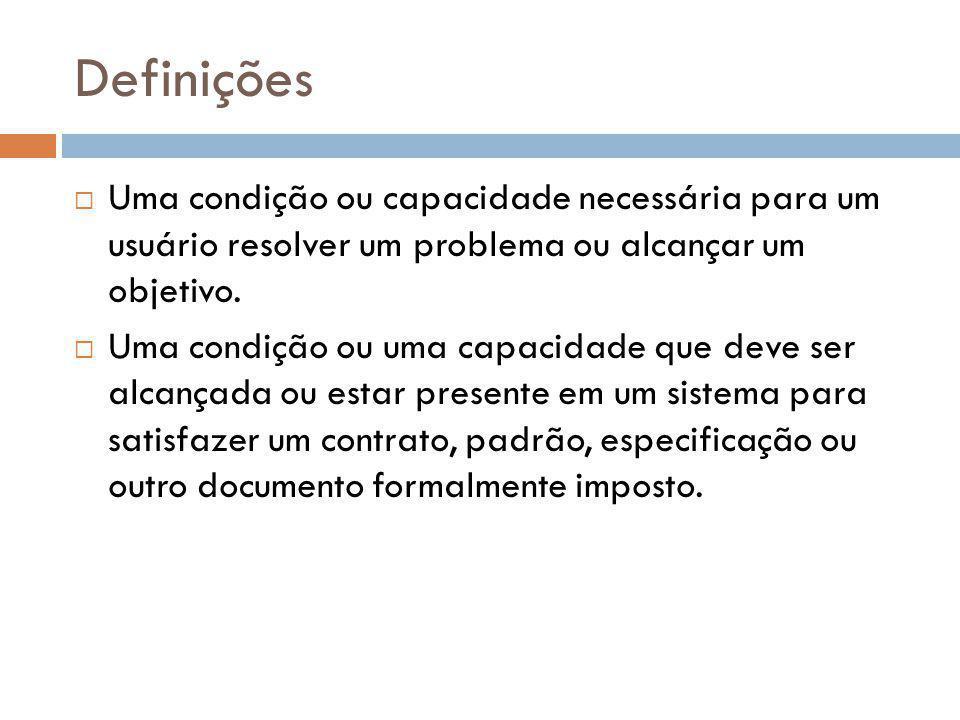 Definições Uma condição ou capacidade necessária para um usuário resolver um problema ou alcançar um objetivo.