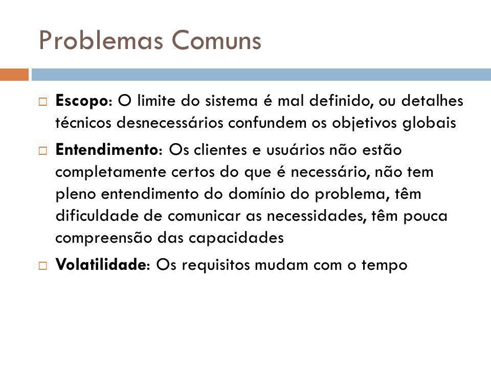 Problemas Comuns Escopo: O limite do sistema é mal definido, ou detalhes técnicos desnecessários confundem os objetivos globais.