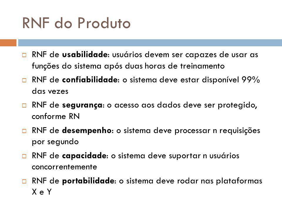 RNF do Produto RNF de usabilidade: usuários devem ser capazes de usar as funções do sistema após duas horas de treinamento.