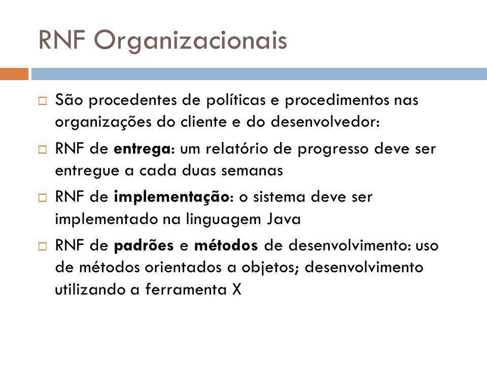 RNF Organizacionais São procedentes de políticas e procedimentos nas organizações do cliente e do desenvolvedor: