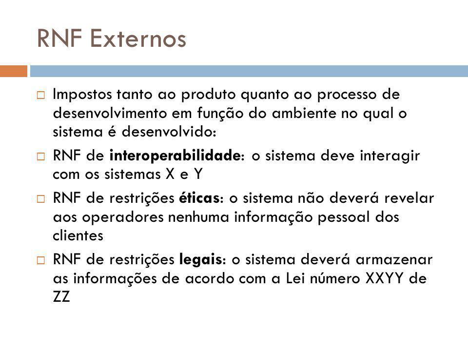 RNF Externos Impostos tanto ao produto quanto ao processo de desenvolvimento em função do ambiente no qual o sistema é desenvolvido: