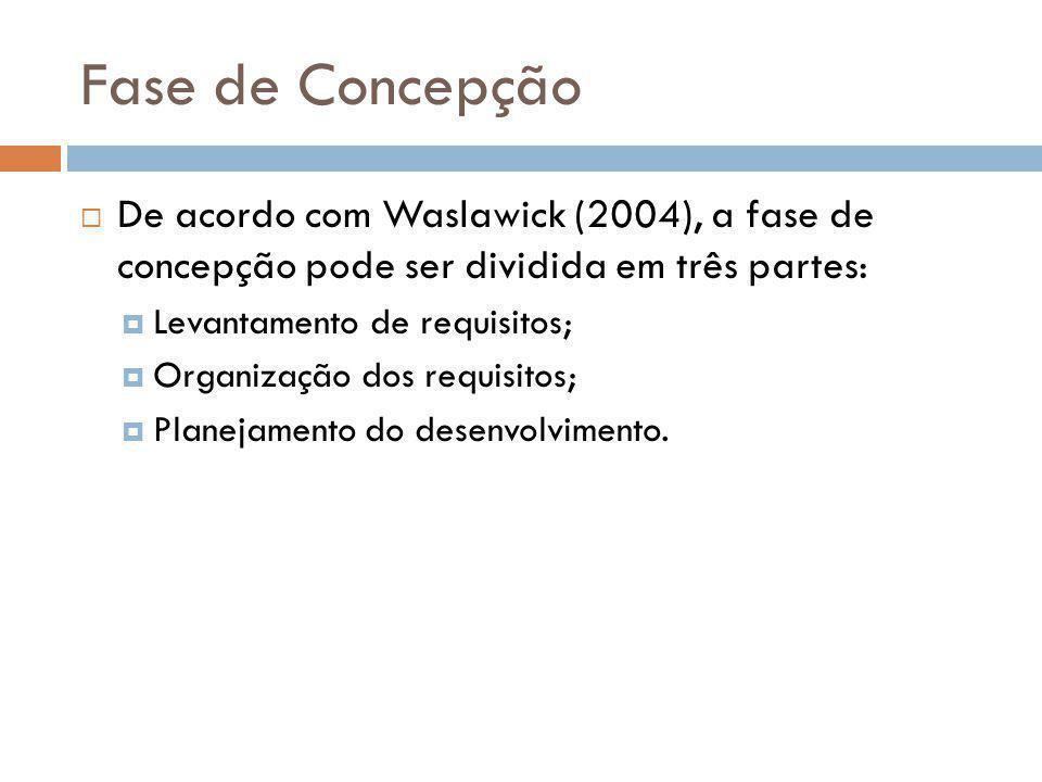 Fase de Concepção De acordo com Waslawick (2004), a fase de concepção pode ser dividida em três partes: