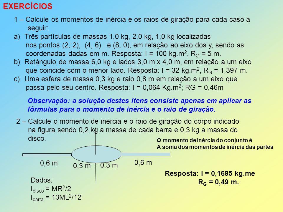 EXERCÍCIOS 1 – Calcule os momentos de inércia e os raios de giração para cada caso a. seguir: